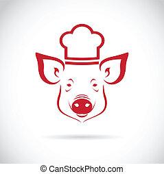 chef cuistot, vecteur, image, cochon
