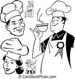chef cuistot, vecteur, retro, graphiques