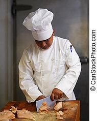 chef cuistot, viande coupe