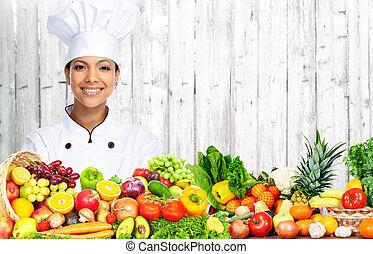 chef cuistot, woman., asiatique