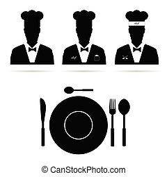 chef, cuoco, vettore, silhouette, uomo
