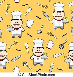 Chef cute cartoon character seamless pattern on yellow background, chef with mustache and kitchen utensils, vector illustration