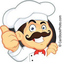 chef, dar, pulgares arriba