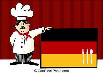 chef, de, alemán, cocina