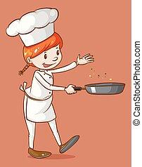 chef de sexo femenino, cocina, con, un, cacerola