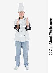 chef de sexo femenino, el gesticular, pulgares arriba, señal
