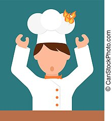 Chef design. - Chef design over blue background, vector...