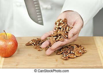 Chef Display Pecans In Hand