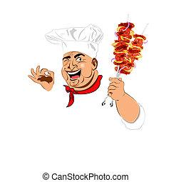chef, divertido, caliente, delicioso, brocheta