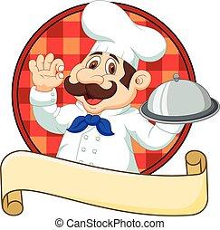 chef, divertido, caricatura