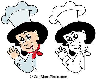 chef, donna, appostando