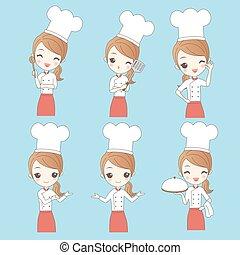 chef, donna, cartone animato, giovane