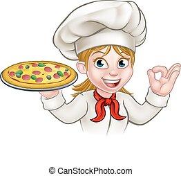 chef, donna, cartone animato, pizza