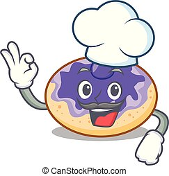 Chef donut blueberry character cartoon
