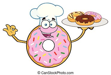 Chef Donut Cartoon Mascot Character Serving Donuts