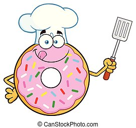 Chef Donut Cartoon Mascot Character With Sprinkles Holding A Slotted Spatula
