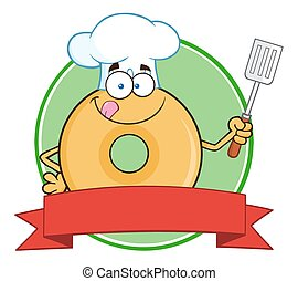 Chef Donut Character Circle Label - Chef Donut Cartoon...
