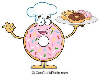 Chef Donut Character Serving Donuts