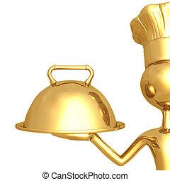 chef, dorado, bandeja sirviendo