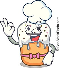 Chef easter cake character cartoon