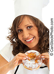 Chef eating donut