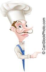 chef, echar una ojeada, señalar