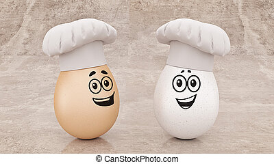 chef egg. concept cook. 3d rendering