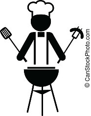 chef, elaboración, -1, barbacoa, ilustración