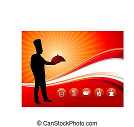 chef, en, rojo, cena, plano de fondo