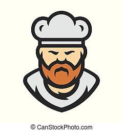 chef, en, un, cocinero, sombrero, vector, signo.