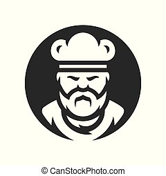 chef, en, un, cocinero, sombrero, vector, silueta, signo.