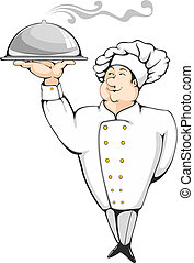 Chef - Cartoon chef carrying dinner plate with perfect meal....
