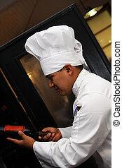chef, escoger, vino, 2