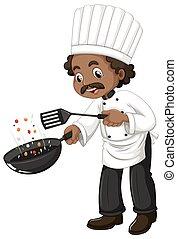 chef, espátula, cocina, cacerola, freír