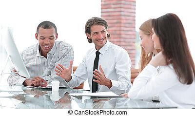chef, fästen, a, möte, med, den, affärsverksamhet lag