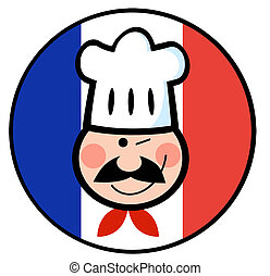 Chef Face On A French Flag Circle - Winked Chef Man Face...