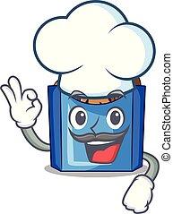 Chef falafel in fried on teflon cartoon vector illustration