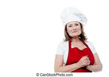 chef, femmina porge, ritratto, sorridente, afferrato
