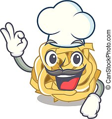 Chef fettuccine is served on cartoon plate