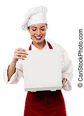 chef, fiducioso, femmina, ritratto