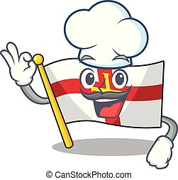 Chef flag guernsey with the cartoon shape vector illustration