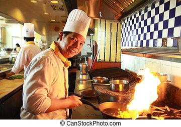 chef, flambe, cottura