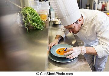 chef, flor, pensamiento, plato, decorar, macho