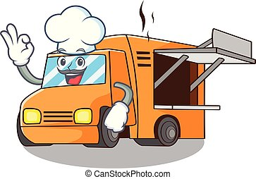 Chef Food Truck with Isolated on mascot
