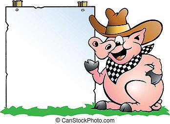 chef, frente, señal, cerdo