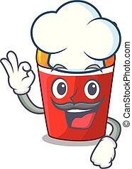 Chef fried chicken in red bucket cartoon