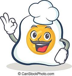 Chef fried egg character cartoon