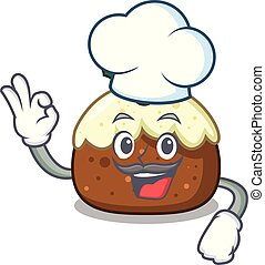 Chef fruit cake character cartoon