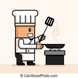chef frying hold pan