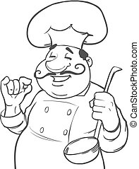 chef funny Italia - cartoon character, chef with ladle on...